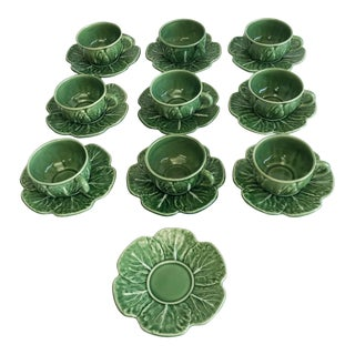 Set of 8 Bordallo Pinheiro Green & White Majolica Style Cabbage Teacups and Saucers For Sale