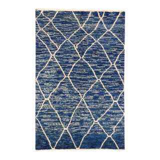 Contemporary Blue Moroccan Style Area Rug with Abstract Design For Sale