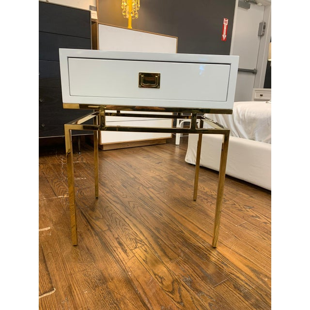 Hollywood Regency White Lacquer & Brass Side Table For Sale In New York - Image 6 of 6