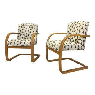 Pair of Upholstered Bentwood Accent Chairs For Sale