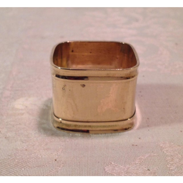 Brass Mid-Century Modern Square Brass Napkin Rings - Set of 6 For Sale - Image 7 of 9