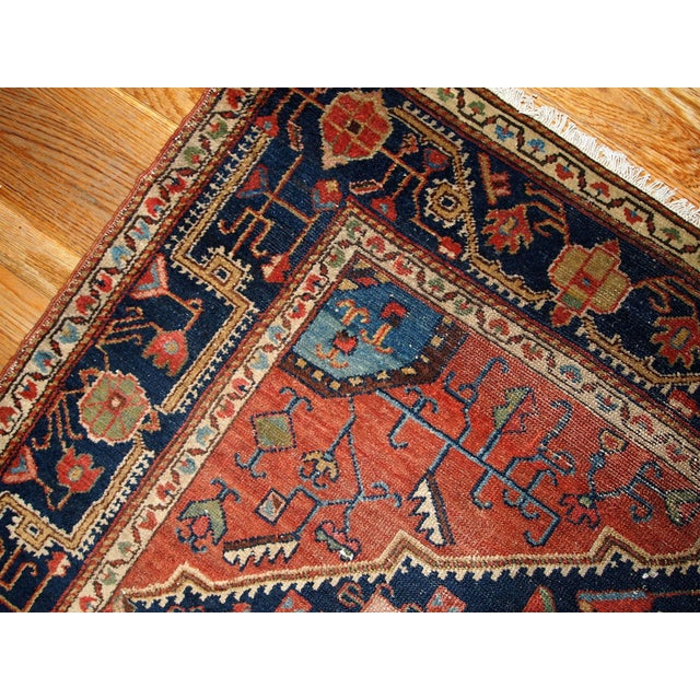 Blue 1920s Handmnade Antique Persian Malayer Rug - 4.10' X 7.3' For Sale - Image 8 of 8