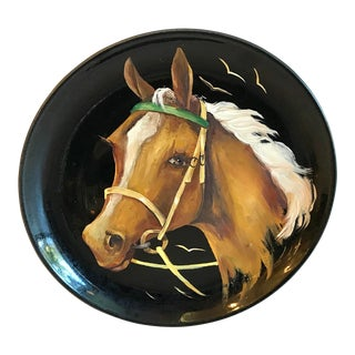 Vintage Bauer Ceramic Hand Painted Horse Plate For Sale