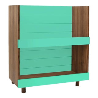 """Nico & Yeye Minimo Modern Kids 31"""" Bookcase in Solid Walnut and Mint For Sale"""