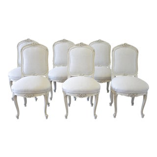 Set of 6 Louis XV Style White Painted French Linen Upholstered Dining Chairs For Sale