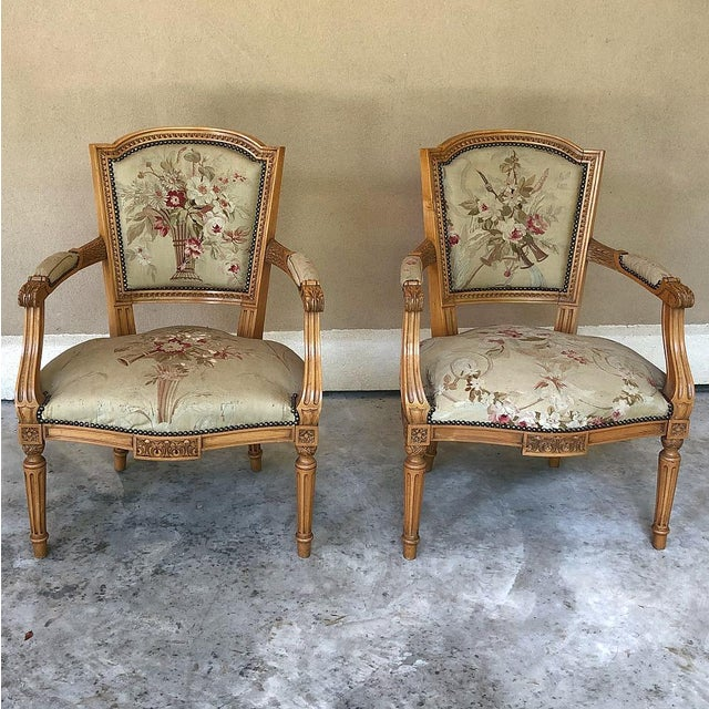 Pair of Louis XVI French Aubusson Tapestry Fruitwood Armchairs For Sale - Image 13 of 13