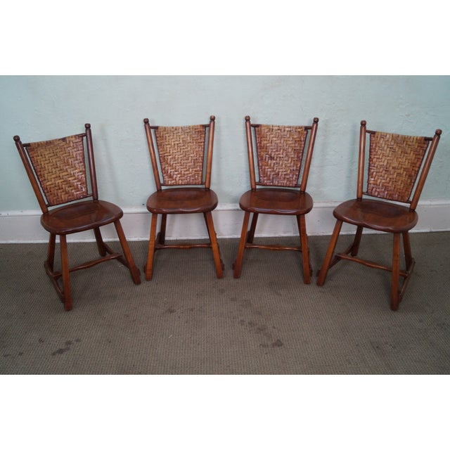 Old Hickory Signed Vintage Woven Splint Back Dining Chairs - Set of 4 For Sale - Image 5 of 10