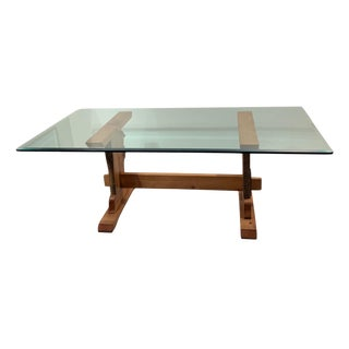 7 Ft. Live Edge Trestle Table Base With Beveled Glass Top For Sale