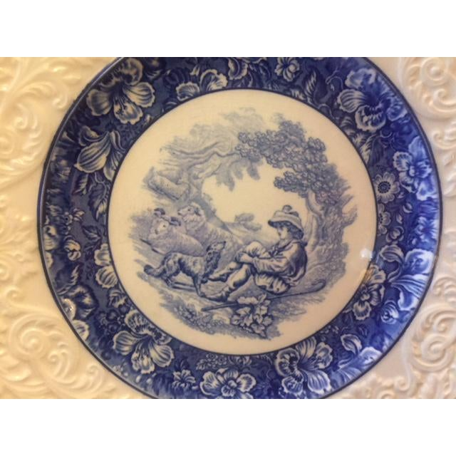 Ceramic French Country Blue Transferware Charger Round Plates - Set of 12 For Sale - Image 7 of 13
