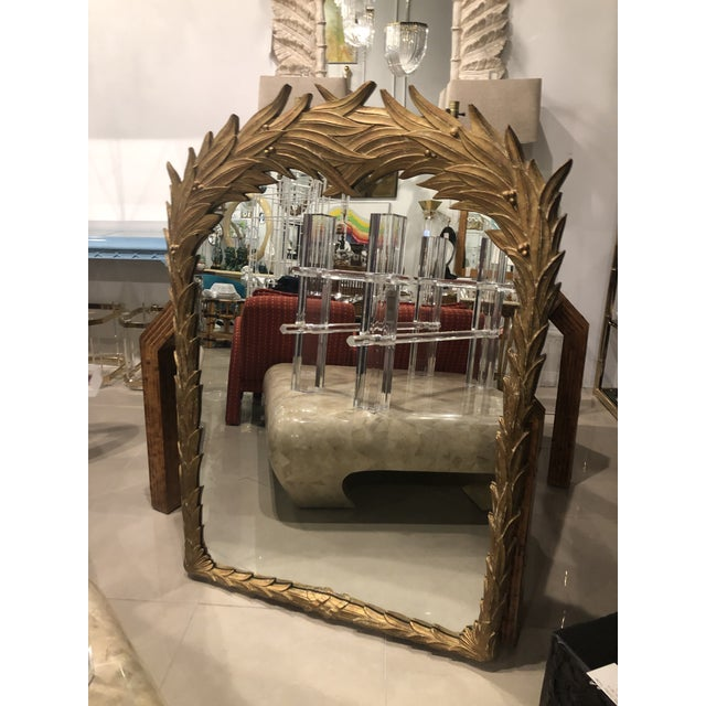 Serge Roche Vintage Gold Lacquered Palm Frond Wall Mirror For Sale - Image 4 of 12