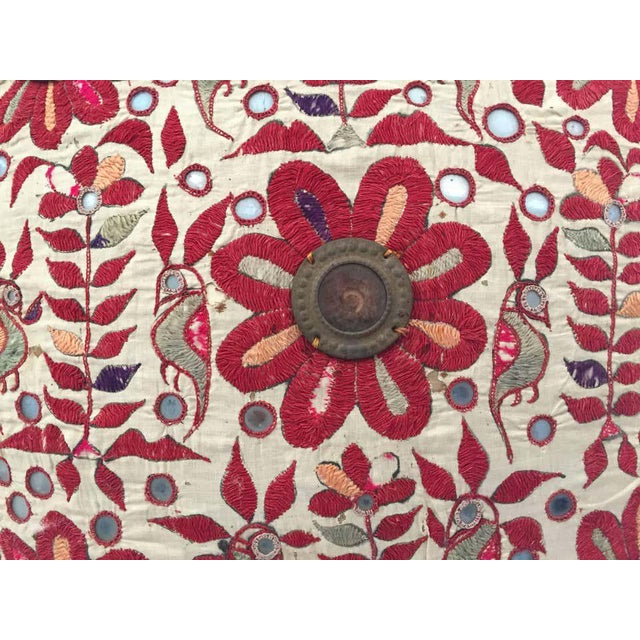Late 19th Century 19th Century, Rajasthani Colorful Embroidery and Mirrored Decorative Pillow For Sale - Image 5 of 11