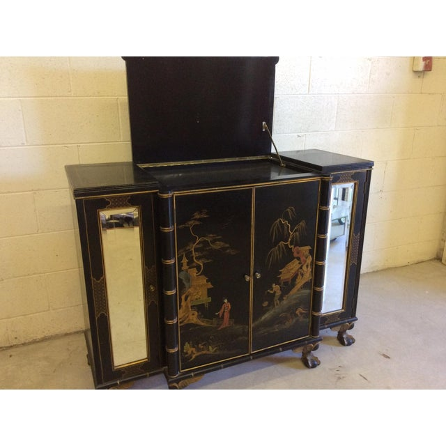 Vintage Chinoiserie-Style Flip Top Bar or Buffet - Image 7 of 9