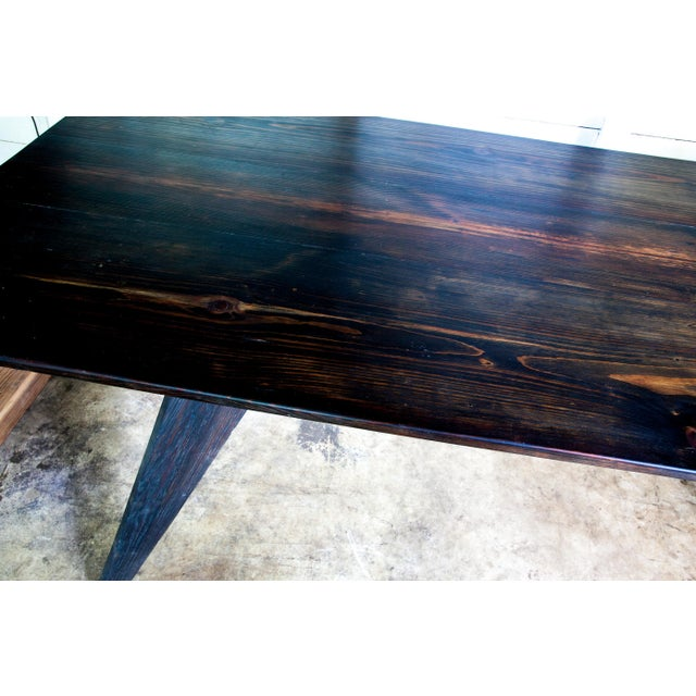 """Not Yet Made - Made To Order Prouve Style Artisan Made Em Solvay Black Dining Conference Table - Black Brown 80"""" For Sale - Image 5 of 11"""