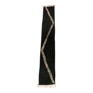 Black and White Stripe Shag Moroccan Runner For Sale