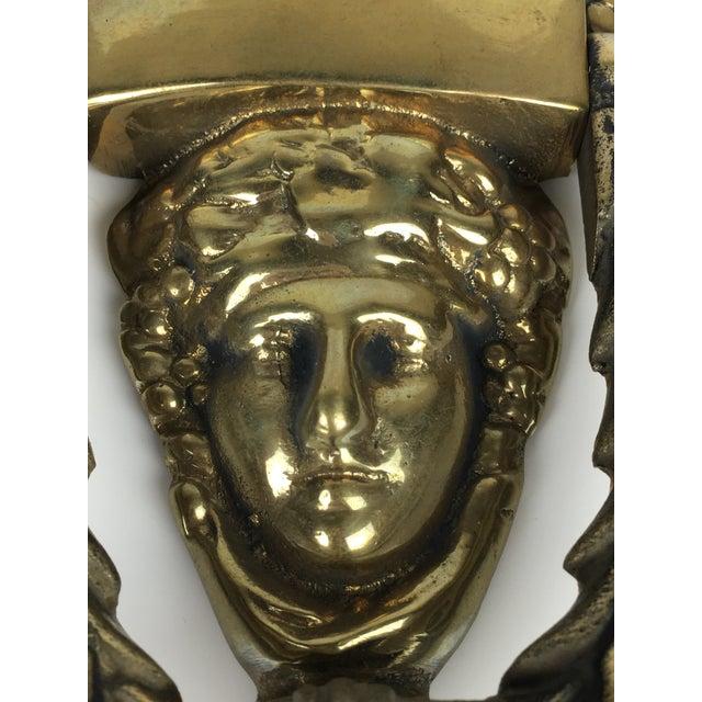 Brass Solid Brass Greek Goddess Door Knocker For Sale - Image 7 of 12