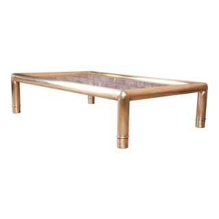 Mastercraft Monumental Hollywood Regency Chinoiserie Brass and Glass Cocktail Table For Sale