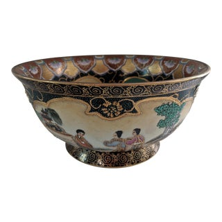 Vintage Footed Hand Painted Asian Centerpiece Bowl
