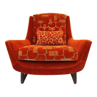 1960s Adrian Pearsall Orange Velvet Chair