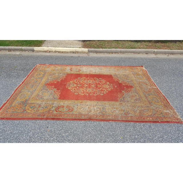 """Very large Usak Carpet or Oushak Rug aging approx 100 years old. Measuring 114"""" x 160"""" . It is thin in some areas and has..."""