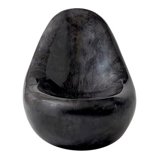 """Parchment Egg Chair,"" Lacquered Goatskin, Charcoal Finish For Sale"
