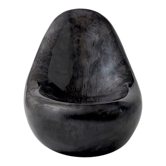 """""""Parchment Egg Chair,"""" Lacquered Goatskin, Charcoal Finish For Sale"""
