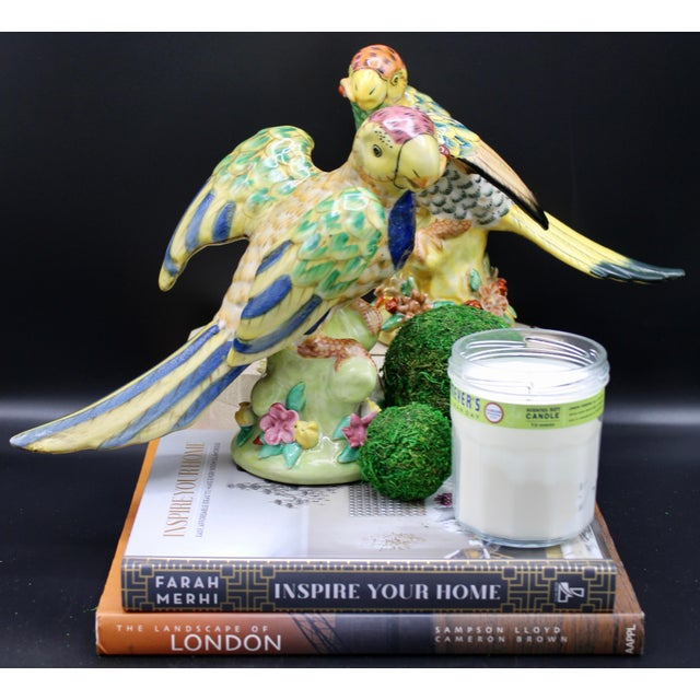 Mid-20th Century Colorful Chinese Export Porcelain Parrot Figurines - a Pair For Sale - Image 10 of 12