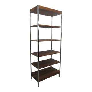 1960s Chrome & Walnut Etagere For Sale