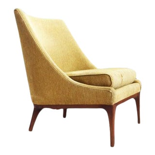 Vintage Mid Century Lawrence Yellow Peabody Club Chair For Sale