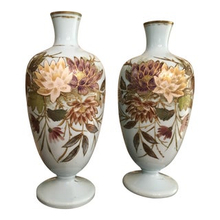 1800s Antique French Porcelain Opaline Vases - a Pair For Sale