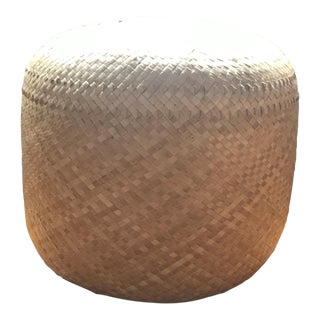 Vintage Woven Grass Ottoman For Sale