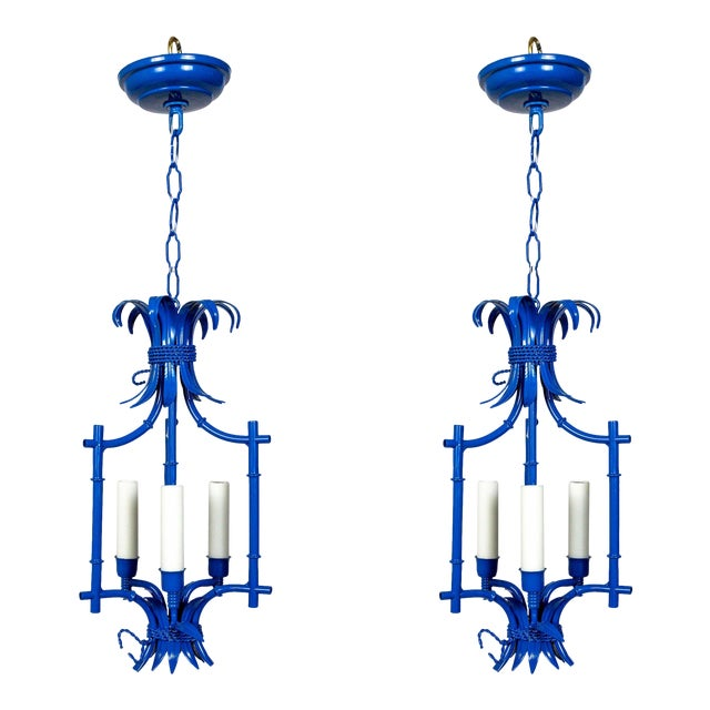 Palm Beach Style Blue Faux Bamboo Lanterns, Mid Century, Pair For Sale
