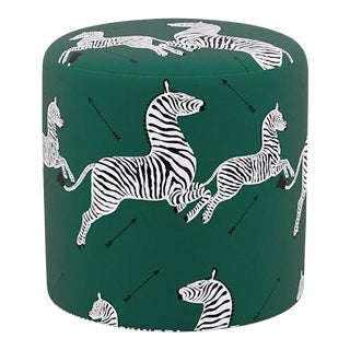 Scalamandre Drum Ottoman in Emerald Zebra For Sale