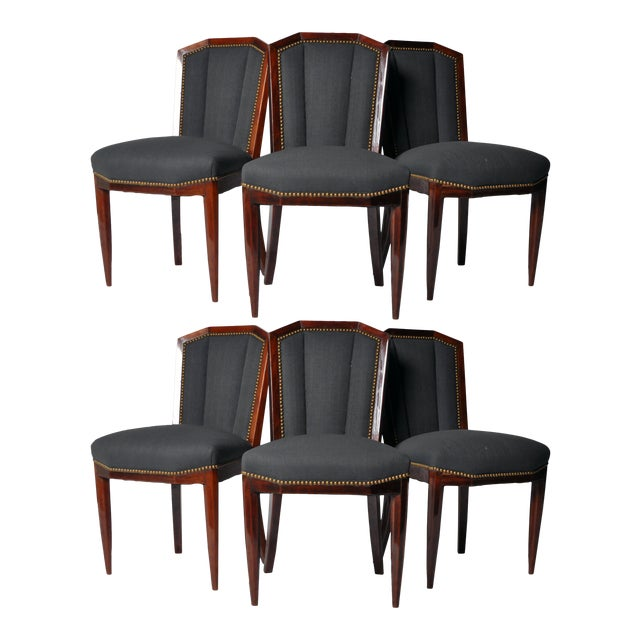 1940s Art Deco Dining Chairs - Set of 6 For Sale