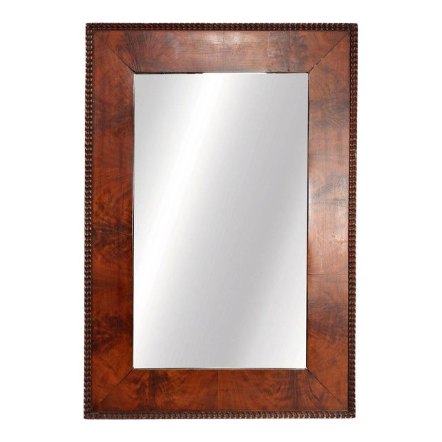 1970's Red Burl Wood Rectangular Mirror With Beaded Trim in the Manner of Milo Baughman for Thayer Coggin For Sale