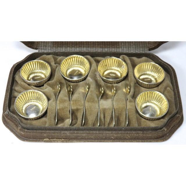 1930s Vintage Sterling Silver Open Salt Cellars & Spoons - 12 Piece Set For Sale - Image 5 of 13