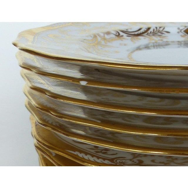 Gold Copeland Spode Gilt Decorated Dessert Plates, Retailed by Wh Plummer- Set of 11 For Sale - Image 8 of 9