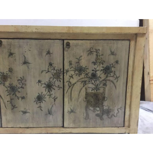 1970s Asian Style Credenza With Floral Motif Hand-Painted Door Panels For Sale - Image 4 of 11