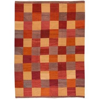 Fine Modern Geometric Multicolored Kilim Rug For Sale