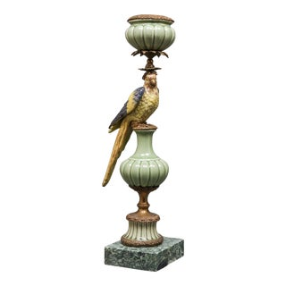German Baroque Style Gilt Porcelain Bird Candlestick For Sale