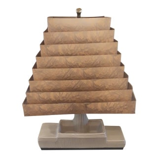 1950s Mid-Century Ceramic Table Lamp With Aluminum Louver Shade For Sale