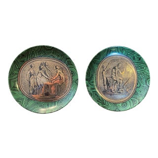 Fornasetti Cammei Malachite & Gold Plates, Vintage 1950's - a Pair For Sale