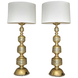 1950s James Mont Style Brass Table Lamps - a Pair