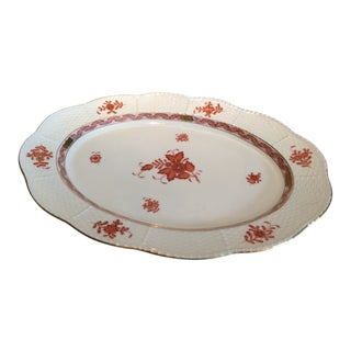 Herend Chinese Bouquet Rust Oval Platter For Sale