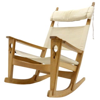 "1960s Vintage Hans J. Wegner ""Keyhole"" Rocking Chair For Sale"