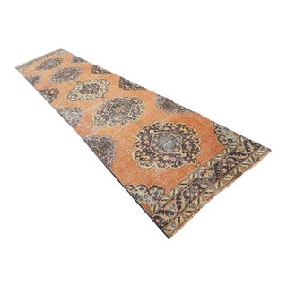 1970s Vintage Turkish Oushak Runner Rug - 2′12″ × 13′2″ For Sale