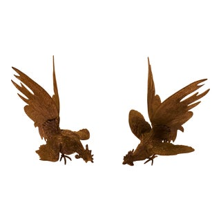 Mid-Century Metal Fighting Birds For Sale