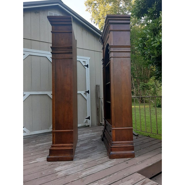 Vintage Drexel 1968 Et Cetera French Style Aged Walnut Solid Wood Bookcases - a Pair For Sale - Image 6 of 13