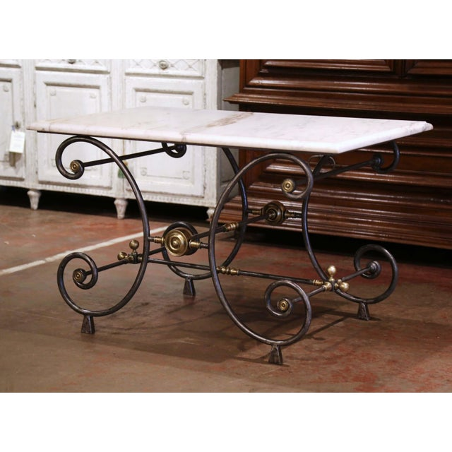 French 19th Century French Polished Iron and Bronze Pastry Table With Marble Top For Sale - Image 3 of 13