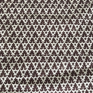 "Quadrille Handprint Raisin Linen Fabric ""Volpi""- 1 1/3 Yards"