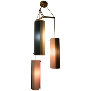 Three-Light Tubular Glass Cascading Form Chandelier For Sale